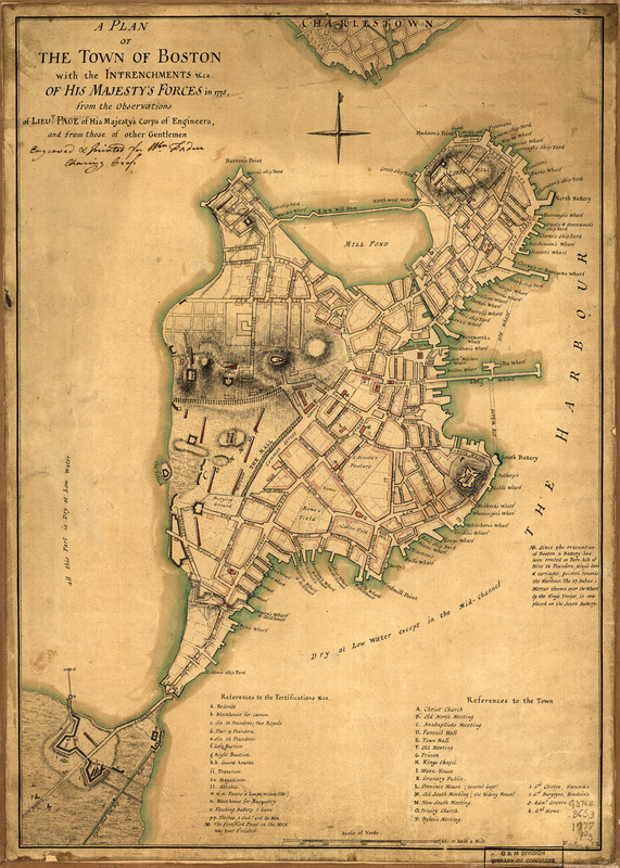 A plan of the town of Boston with the intrenchments &ca. of His Majesty's forces in 1775