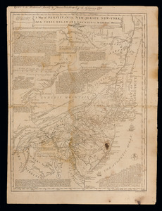 A map of Pensilvania, New-Jersey, New-York, and the three Delaware counties