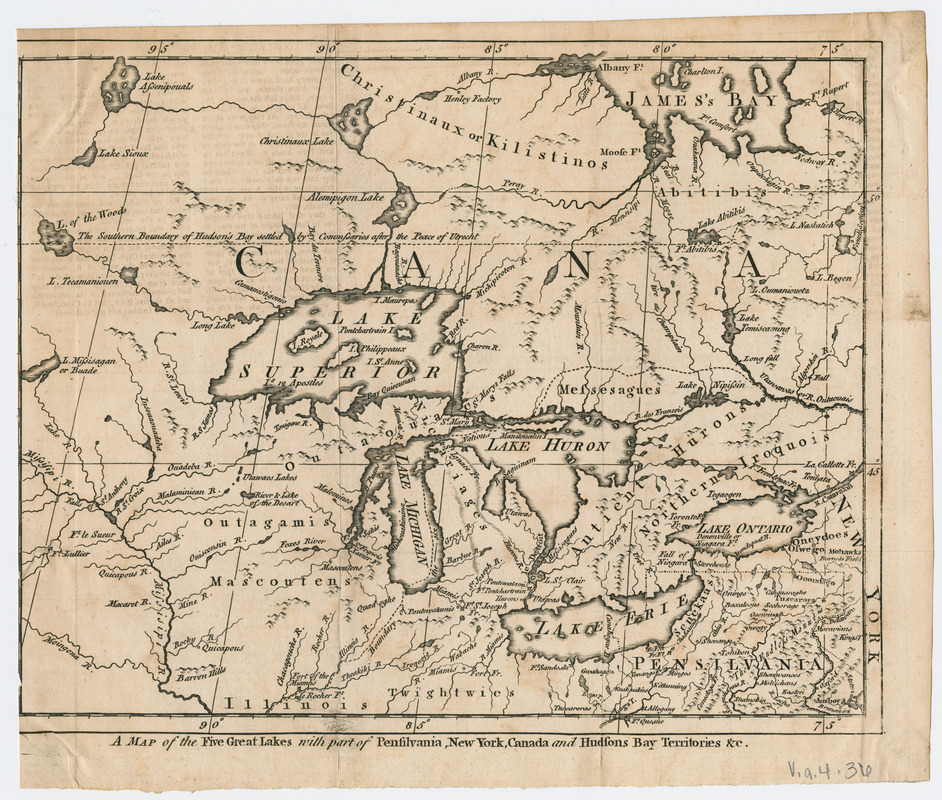 A Map of the five Great Lakes with part of Pensilvania, New York ...