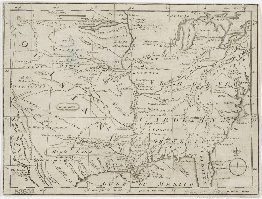 [Map of Spanish Louisiana and the American colonies]