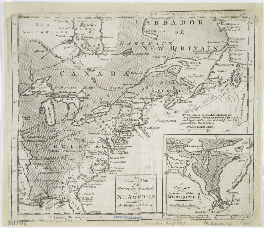 An accurate map of the British Empire in Nth. America as settled by the preliminaries in 1762