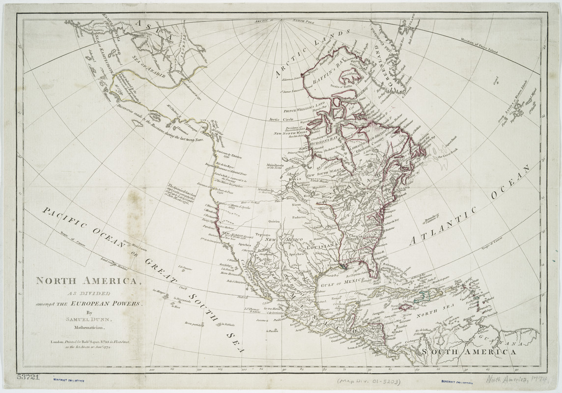 North America, as divided amongst the European powers