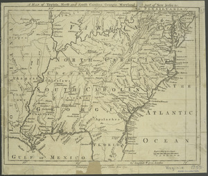 A map of Virginia, North and South Carolina, Georgia, Maryland