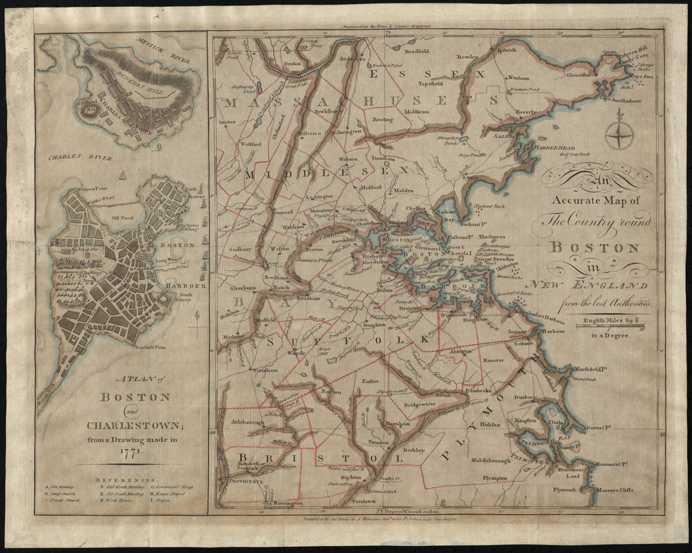 An accurate map of the country round boston in new england from the an accurate map of the country round boston in new england from the best authorities gumiabroncs Gallery