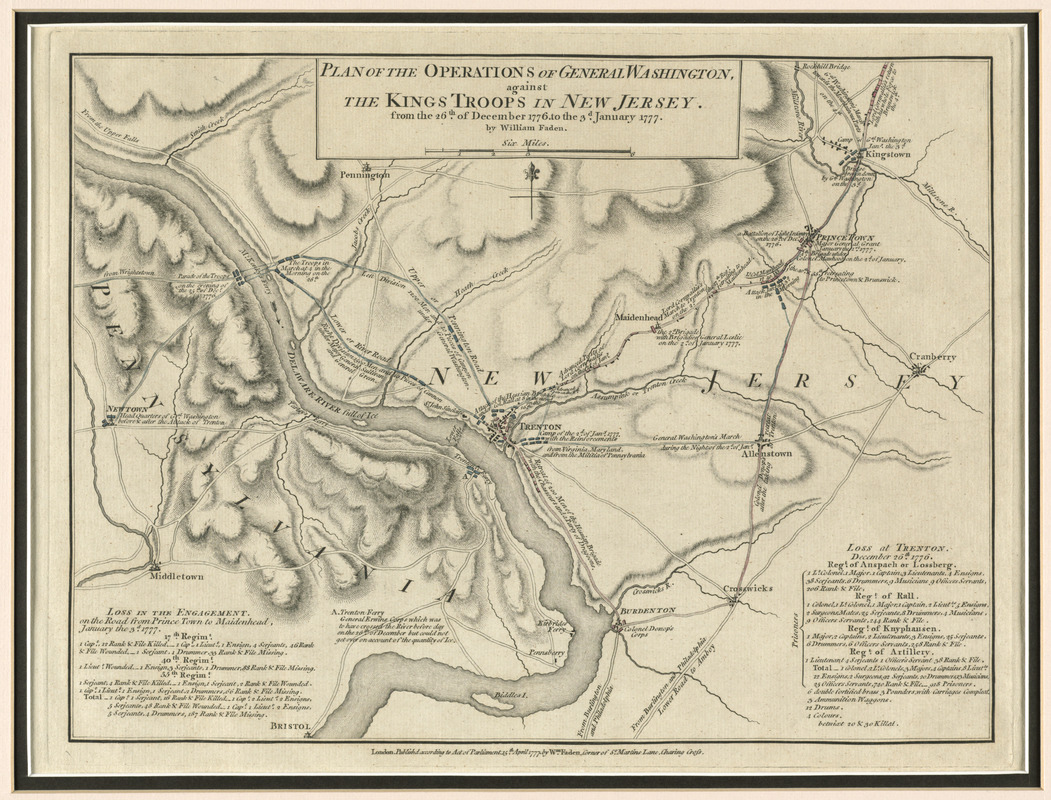 Plan of the operations of General Washington, against the Kings troops in New Jersey
