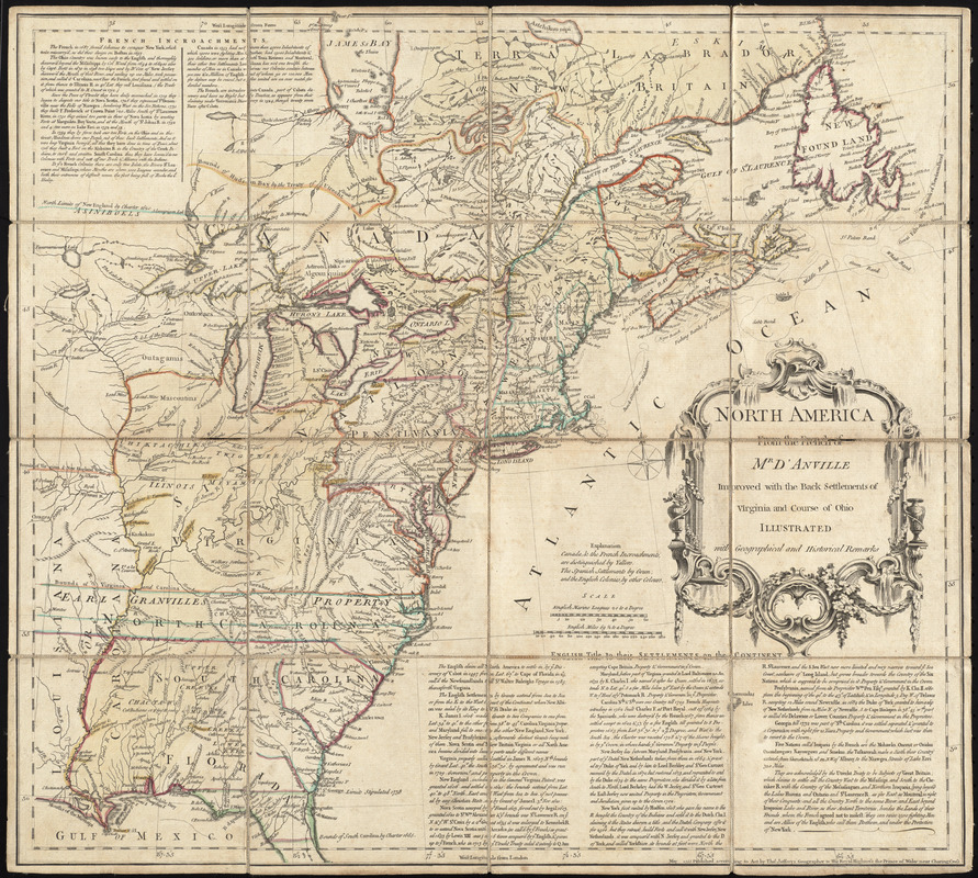 North America from the French of Mr. D'Anville, improved with the back settlements of Virginia and course of Ohio, illustrated with geographical and historical remarks