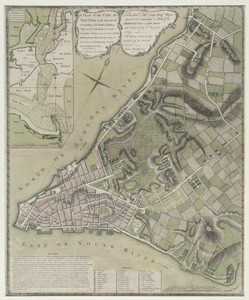 A plan of the city of New-York & its environs to Greenwich, on the North or Hudsons River, and to Crown Point, on the East or Sound River, shewing the several streets, publick buildings, docks, fort & battery, with the true form & course of the commanding grounds, with and without the town : survey'd in the winter, 1775 [i.e. 1766]