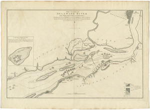 The course of Delaware River from Philadelphia to Chester, exhibiting the several works erected by the rebels to defend its passage, with the attacks made upon them by His Majesty's land & sea forces
