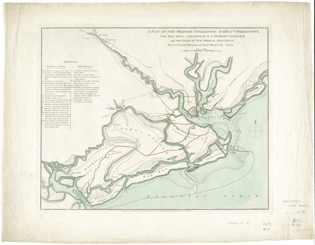 A plan of the military operations against Charlestown, the army being commanded by L.G. Sir Henry Clinton K.B. and the fleet by Vice-Admiral Arbuthnot