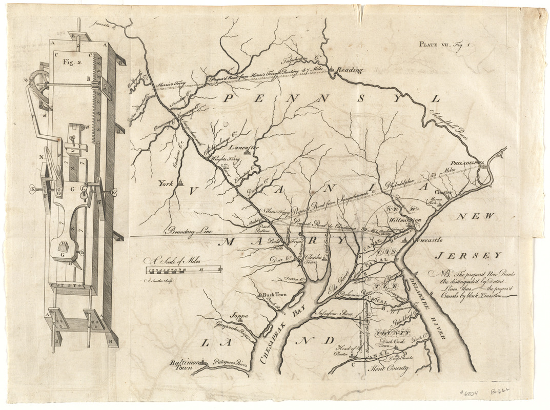 [A map of part of Pennsylvania & Maryland intended to shew, at one view, the several places proposed for opening a communication between the waters of the Delaware & Chesopeak Bays]
