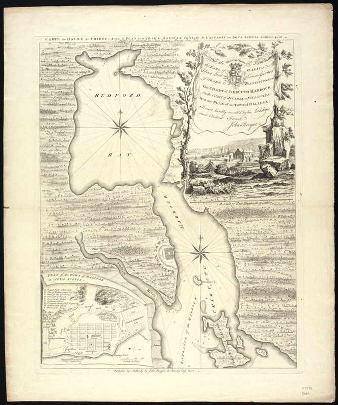 To the rt. honble. the Earl of Halifax, first lord commissioner of trade & plantations, &c &c this chart of Chibucto Harbour, on the coast of Accadia, or Nova Scotia, with the plan of the town of Halifax