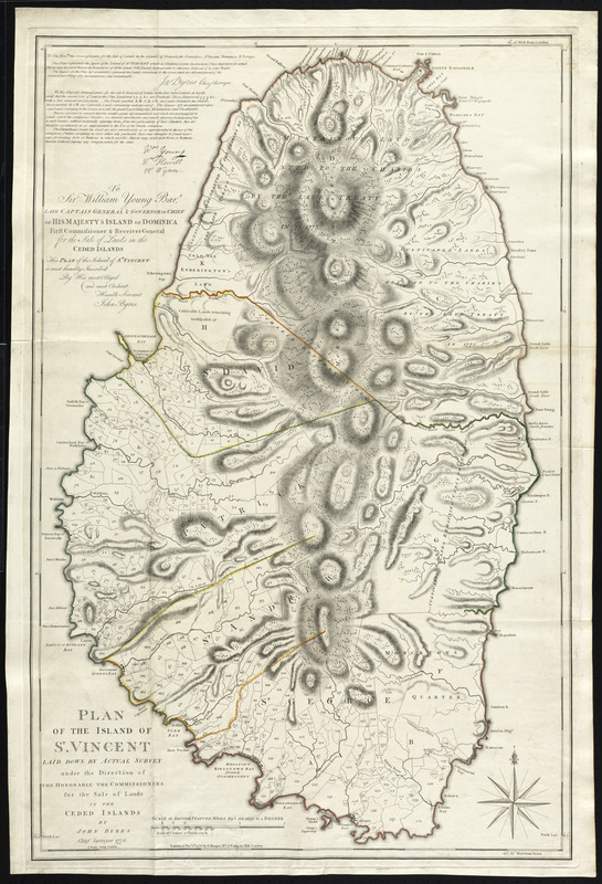 Plan of the island of St. Vincent laid down by actual survey under the direction of the honorable the Commissioners for the Sale of Lands in the ceded islands