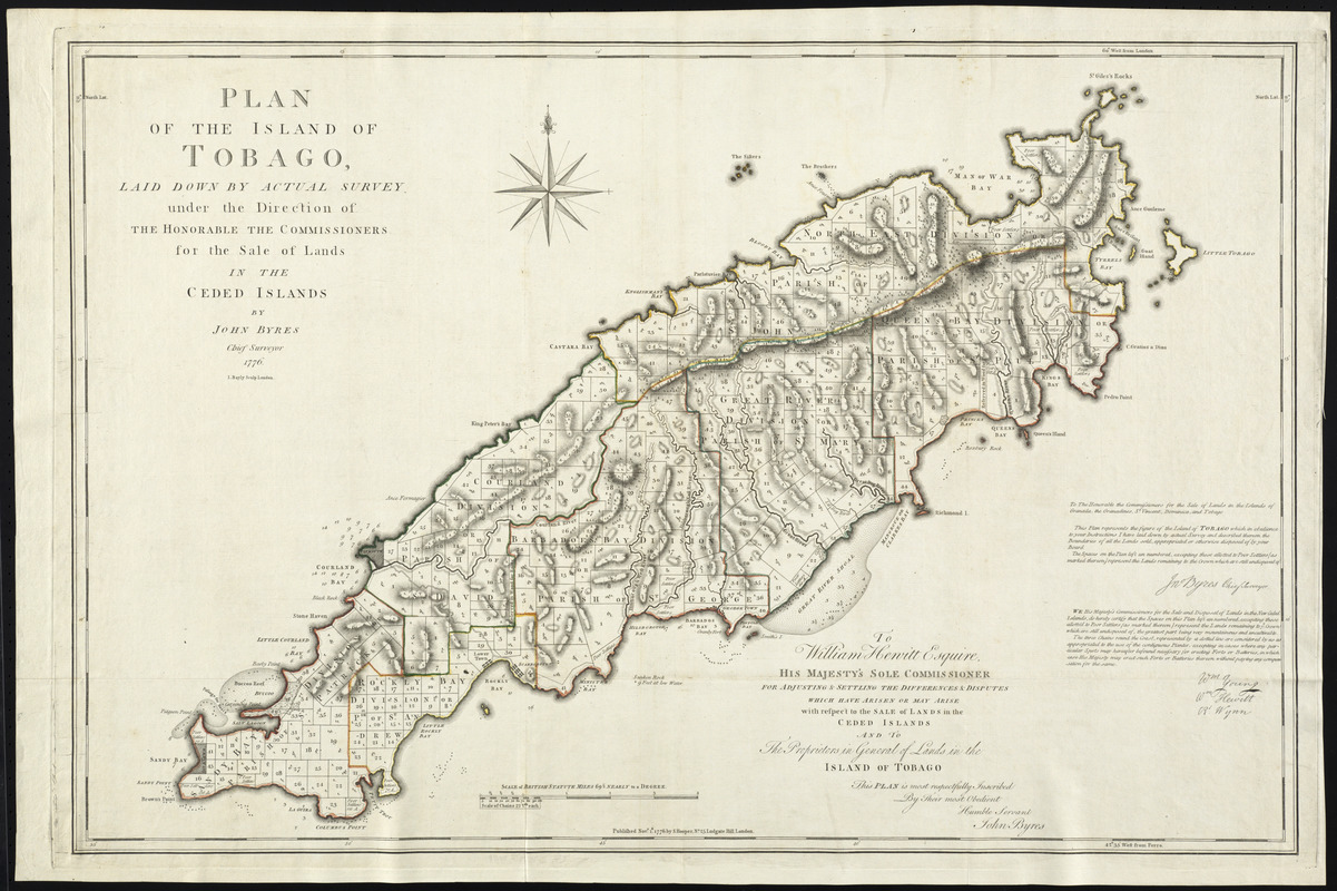 Plan of the island of Tobago laid down by actual survey under the direction of the honorable the Commissioners for the Sale of Lands in the ceded islands
