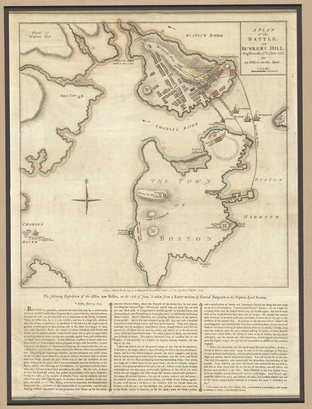 Plan of the battle, on Bunker's Hill