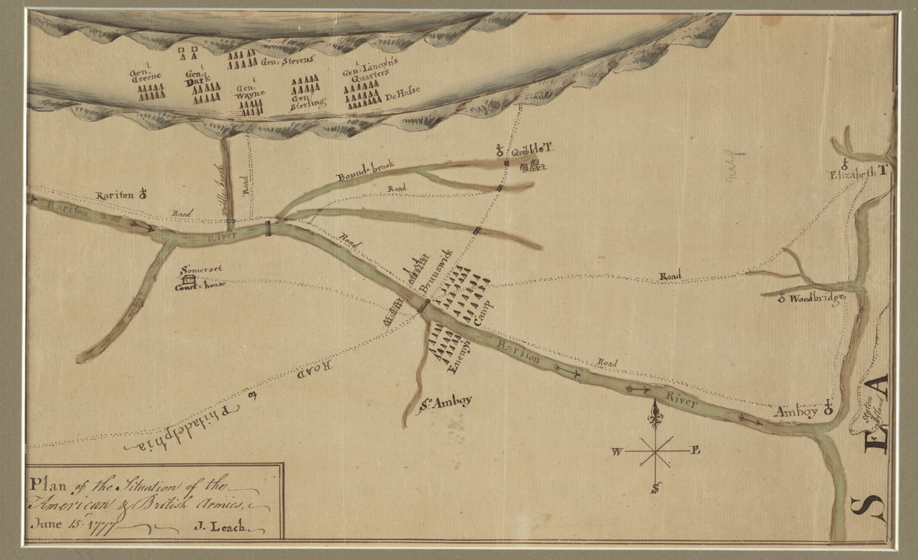 Plan of the situation of the American & British armies, June 15st 1777