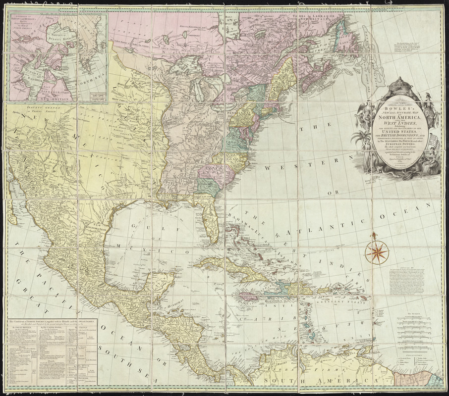 Bowles\'s new and accurate map of North America and the West Indies ...