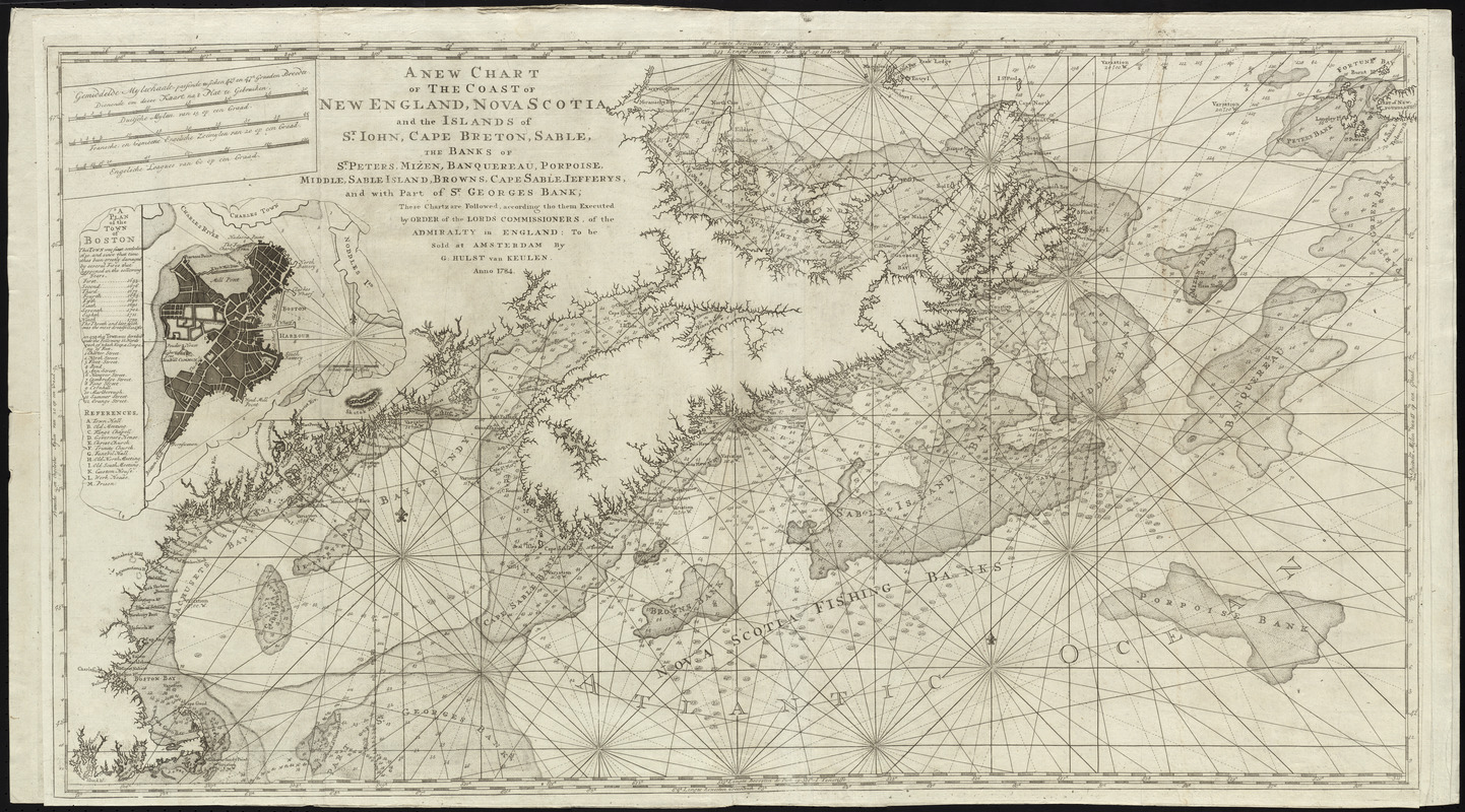 A new chart of the coast of New England, Nova Scotia, and the islands of St. John, Cape Breton, Sable, the banks of St. Peters, Mizen, Banquereau, Porpoise, Middle Sable Island, Browns, Cape Sable, Jefferys, and with part of St. Georges Bank ; these chartz are followed, according tho them executed by order of the Lords Commissioners of the Admiralty in England