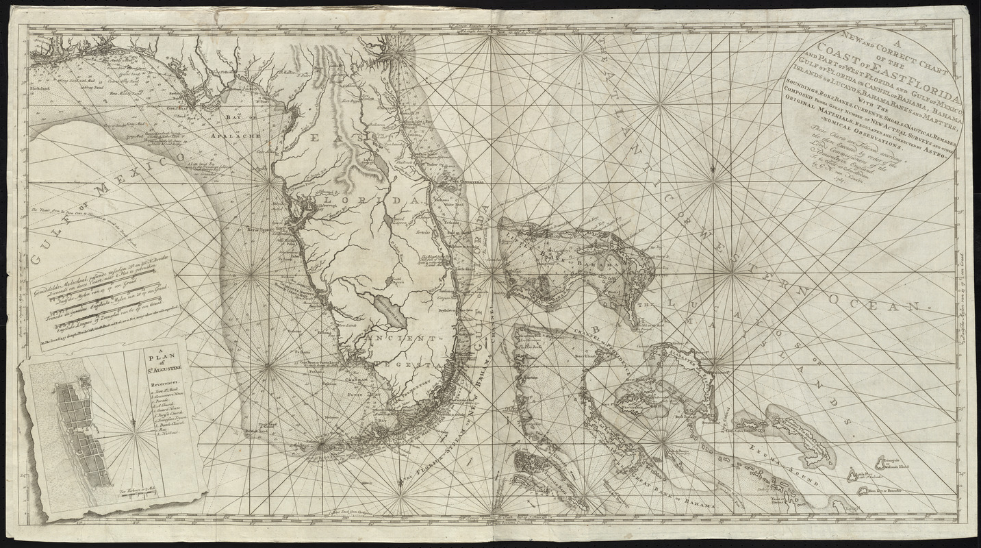 A new and correct chart of the coast of East Florida, and part of West Florida and Gulf of Mexico, Gulf of Florida or Cannel of Bahama, Bahama Islands or Lucayos, Bahama Banks and Martyrs, with the soundings, roks, banks, currents, shoals & nautical remarks, composed from a great number of new actual surveys and other original materials, regulated and corrected by astronomical observations
