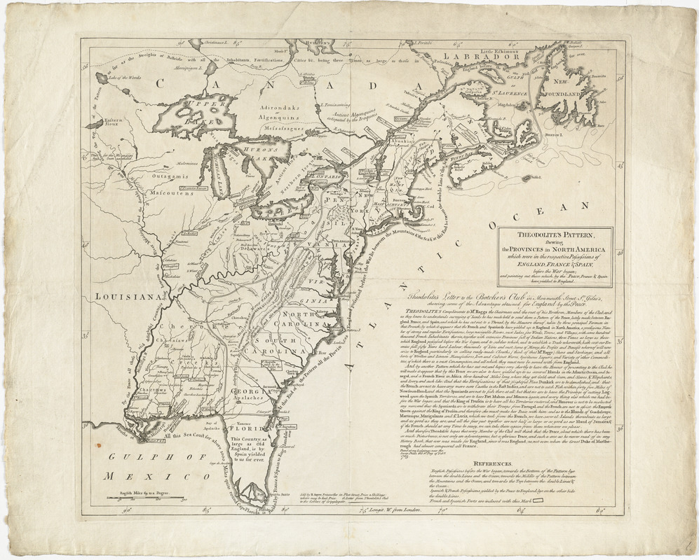 Theodolites pattern shewing the provinces in North America which