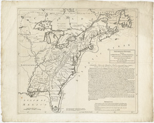 Theodolite's pattern, shewing the provinces in North America which were in the respective possessions of England, France & Spain, before the war began