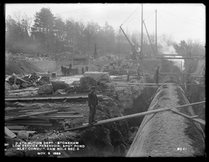 Distribution Department, Low Service Spot Pond Reservoir, inlet conduit, Dam No. 4, Section 6, from the north, Stoneham, Mass., Nov. 9, 1899