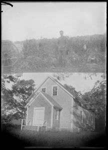 Bottom: Middletown town hall by 1920s, community center earlier. Top: cornfield