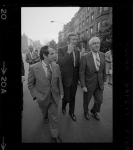 Atlanta Mayor Sam H. Massell Jr., left, New York Mayor John Lindsay, center, and Philadelphia Mayor James Tate, right, take a tour of Boston's Back Bay neighborhood