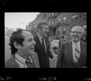 Atlanta Mayor Sam H. Massell Jr., left, New York Mayor John Lindsay, center, and Philadelphia Mayor James Tate, right, laughing while on a tour of Boston's Back Bay neighborhood