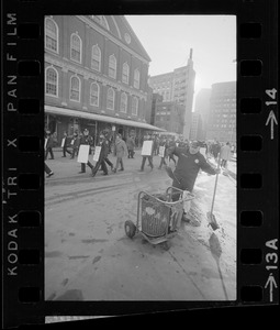 Ring of off-duty Boston policemen circle Faneuil Hall during the inauguration of Mayor White