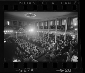 Boston Mayor Kevin White's inauguration in the Great Hall at Faneuil Hall