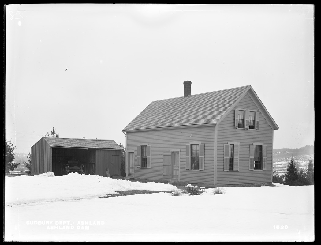 Sudbury Department, attendant's house and shed at Ashland Dam, from the west, Ashland, Mass., Feb. 15, 1898