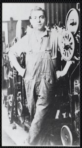 """Emil Incollingo -1891- Apr. 1964-- taken in spinning room of the Wood Mill--"""