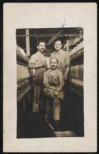 Eli Turneraux (1st on right, arrow pointing) section hand Ayer Mill with two other Ayer Mill employees