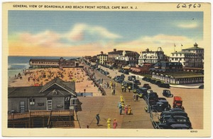 General view of boardwalk and beach front hotels, Cape May, N. J.