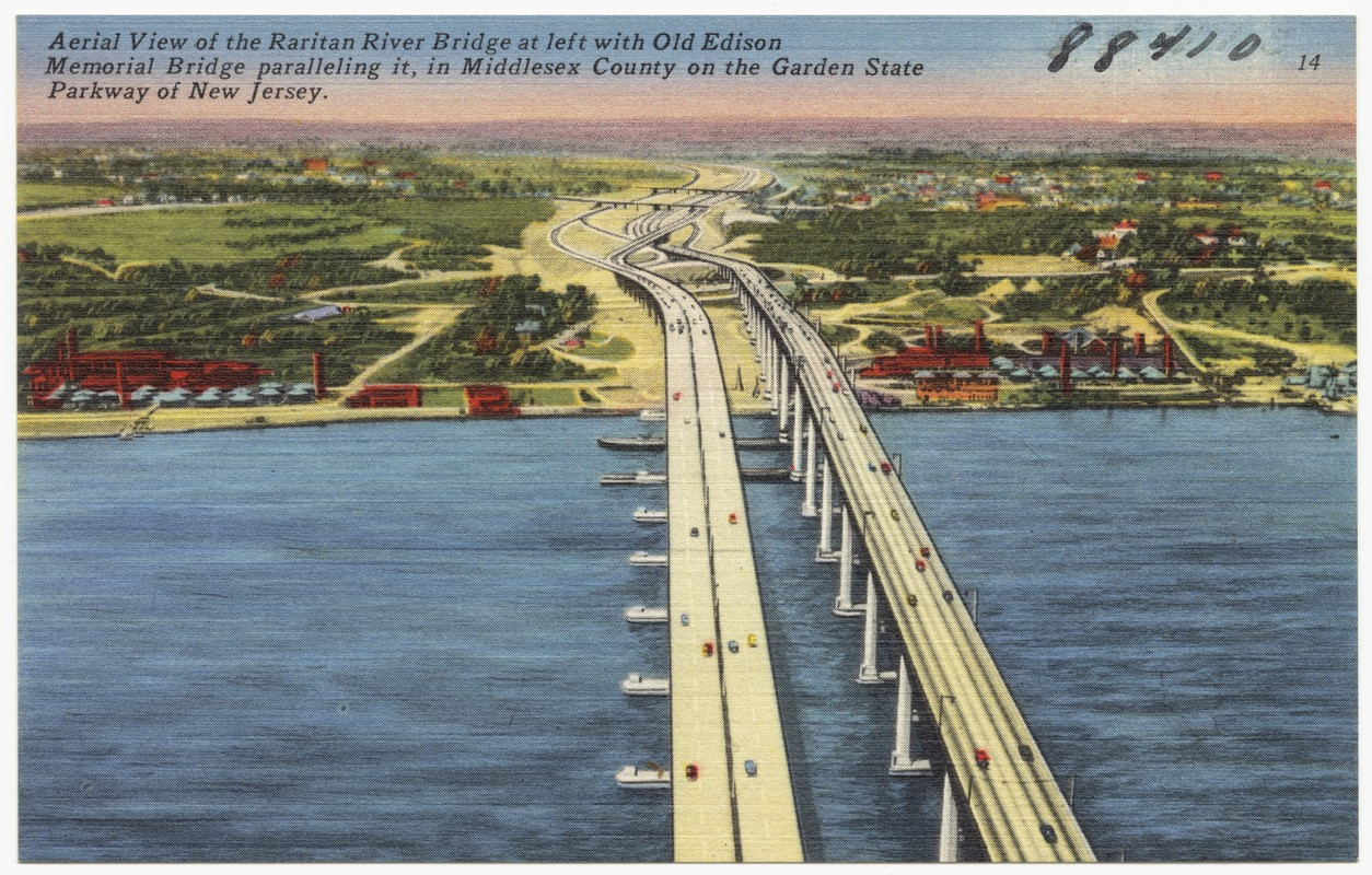 Aerial view of the Raritan River Bridge at left with Old Edison Memorial Bridge paralleling it, in Middlesex County on the Garden State Parkway of New Jersey