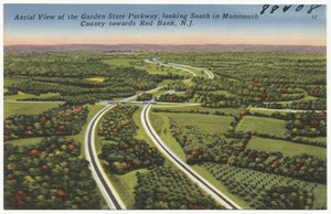 Aerial view of the Garden State Parkway, looking south in Monmouth County towards Red Bank, N.J.