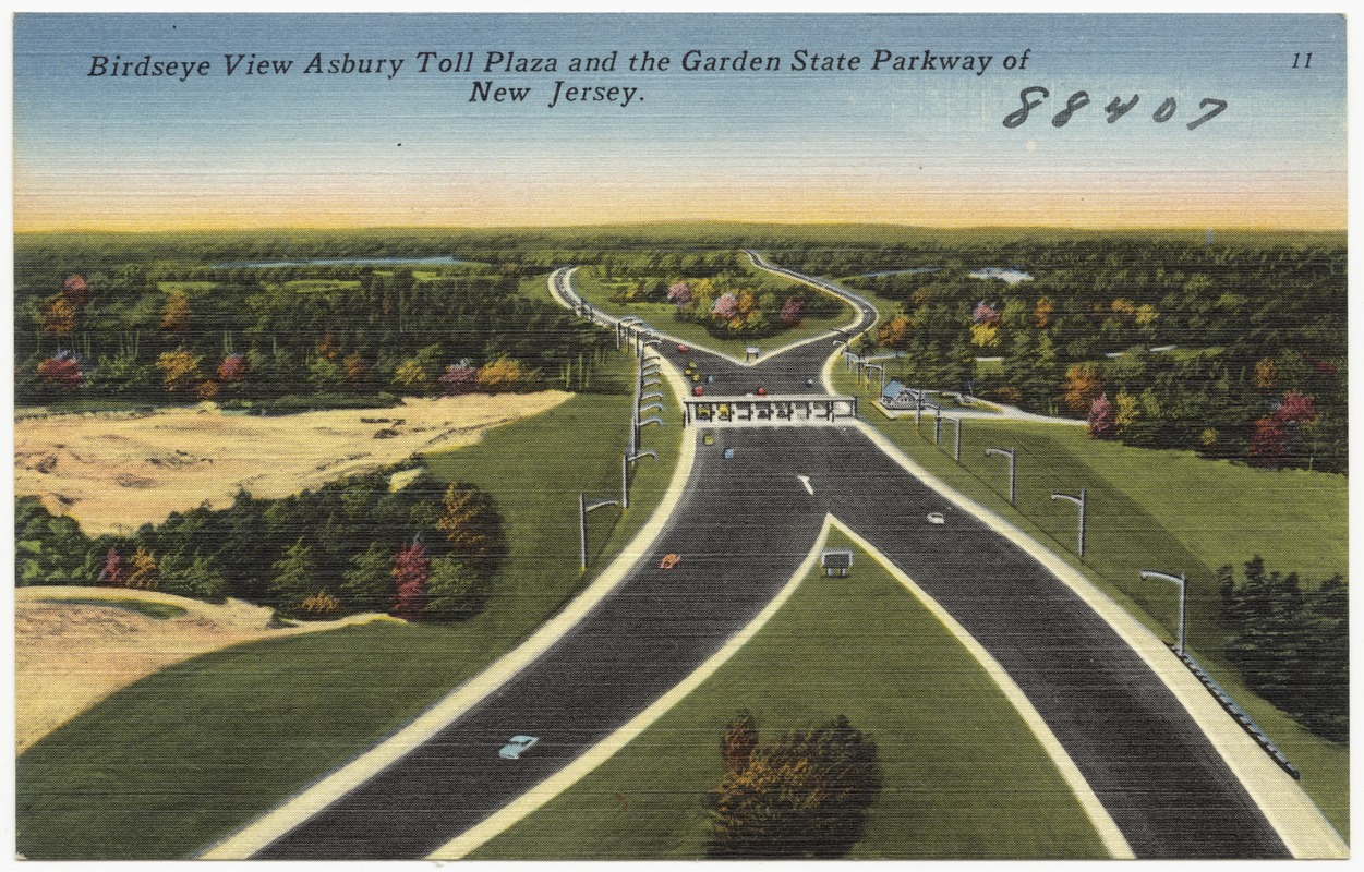 Birdseye view Asbury toll plaza and the Garden State Parkway of New ...