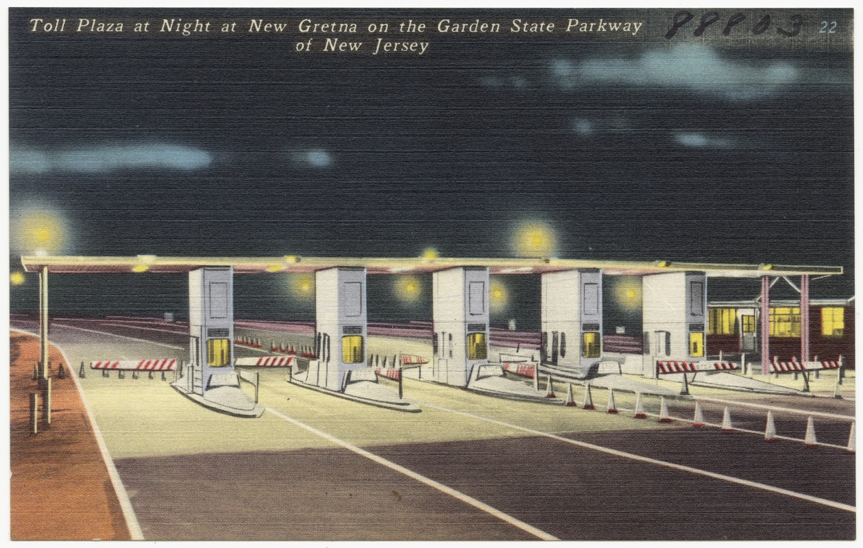 Toll plaza at night at New Gretna on the Garden State Parkway of New Jersey