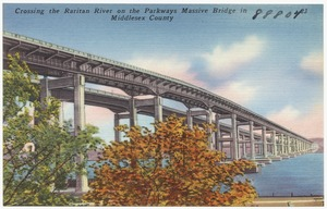 Crossing the Raritan River on the parkways massive bridge in Middlesex County
