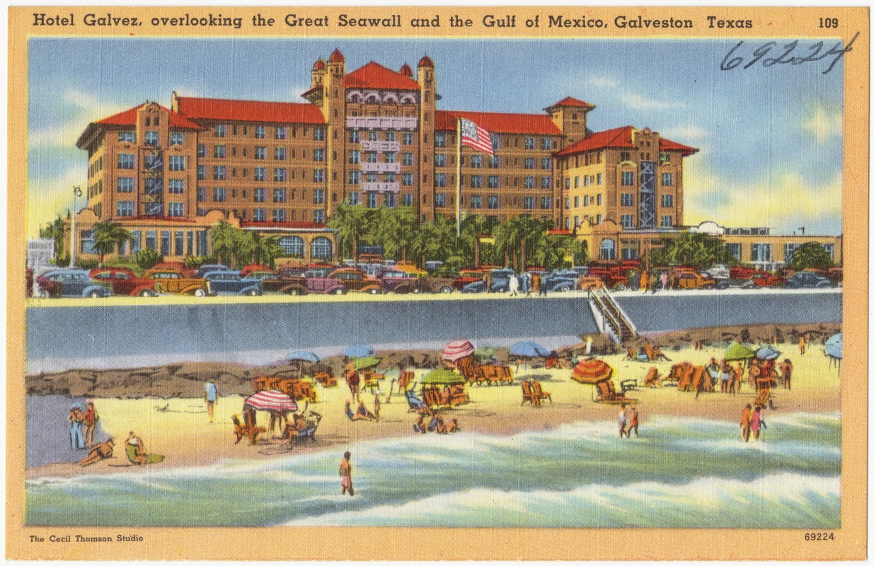 Hotel Galvez Overlooking The Great Seawall And Gulf Of Mexico Galveston Texas