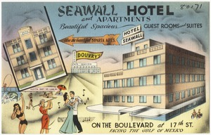 Seawall Hotel and apartments, beautiful spacious guest rooms and suites on the Boulevard at 17th St., facing the Gulf of Mexico