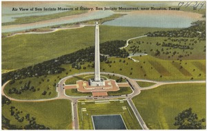 Air view of San Jacinto Museum of History, San Jacinto Monument, near Houston, Texas