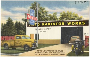 Auto Radiator Works, authorized by McCord Radiator Shop, 1615 Chenevert -- Houston, Texas