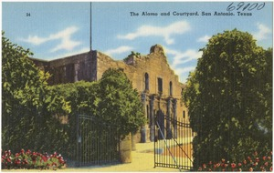 The Alamo and courtyard, San Antonio, Texas