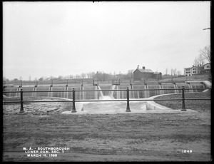 Wachusett Aqueduct, Lower Dam, Open Channel, Section 11, from the east, at center of bridge, Sawin's Mills road, Southborough, Mass., Mar. 16, 1898