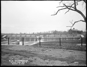 Wachusett Aqueduct, Lower Dam, Open Channel, Section 11, from the northeast, on east side of Sawin's Mills road, near northwest corner of stone house, Southborough, Mass., Mar. 16, 1898