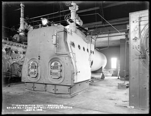 Distribution Department, Chestnut Hill High Service Pumping Station, new boiler No. 4, from the northwest, Brighton, Mass., May 3, 1898