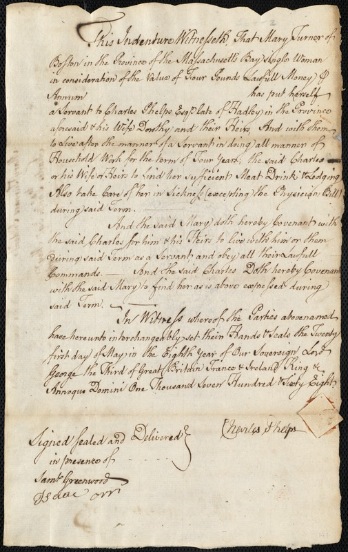 Document of indenture: Servant: Turner, Mary. Master: Phelps, Charles. Town of Master: Hadley