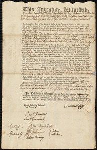 Document of indenture: Servant: Bennison, Mary. Master: Clap, Samuel. Town of Master: Scituate