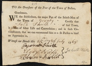Document of indenture: Servant: Vails, Sarah. Master: Smith, Seth. Town of Master: Granby. Selectmen of the town of Granby autograph document signed to the Overseers of the Poor of the town of Boston: Endorsement Certificate for Seth Smith.